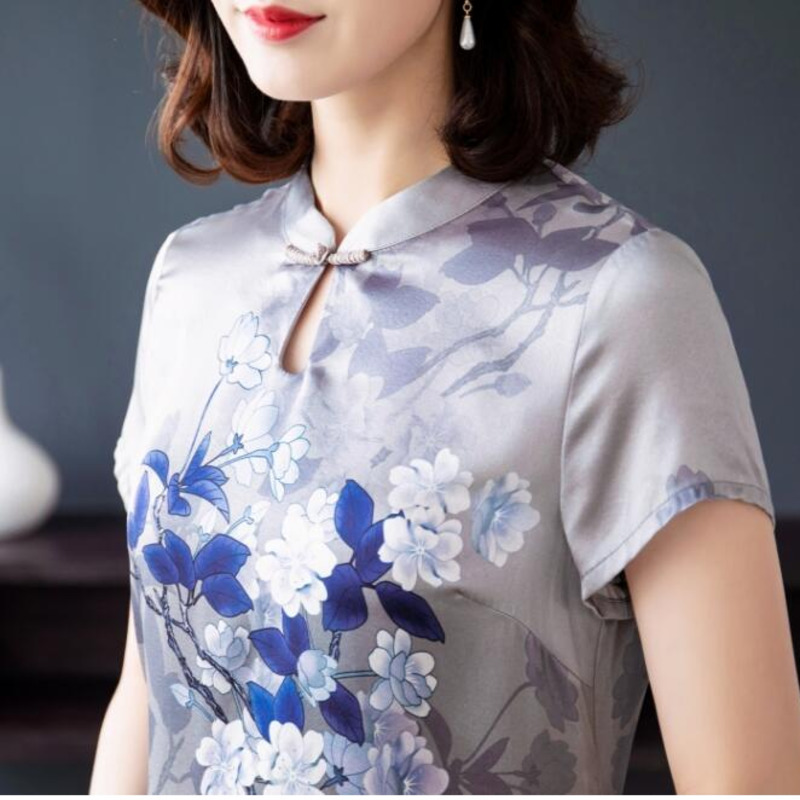 0104 Summer Chinese Style Qi Pao Dress For Women Short Sleeve Slim Long Dresses In Female Silk Dress Flower Plus Size 4XL Qipao in Dresses from Women 39 s Clothing