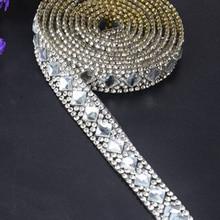 Ribbon 1pcs Set 3.3 foot Rhinestone Beaded Embellishments Silver Iron On Applique Durable Practical High quality