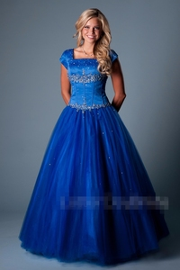 Image 4 - Royal Blue Ball Gown Long Modest Prom Dresses With Cap Sleeves Beaded Crystals Floor Length Girls Teens Formal Prom Party Gowns
