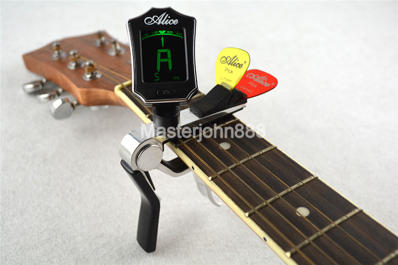 Alice Multifunctional Guitar Tuner Capo Pick Holder For Acoustic Electric Guitar Clamshell Package hot 8x meideal capo10 acoustic electric guitar quick change trigger capo clamp black
