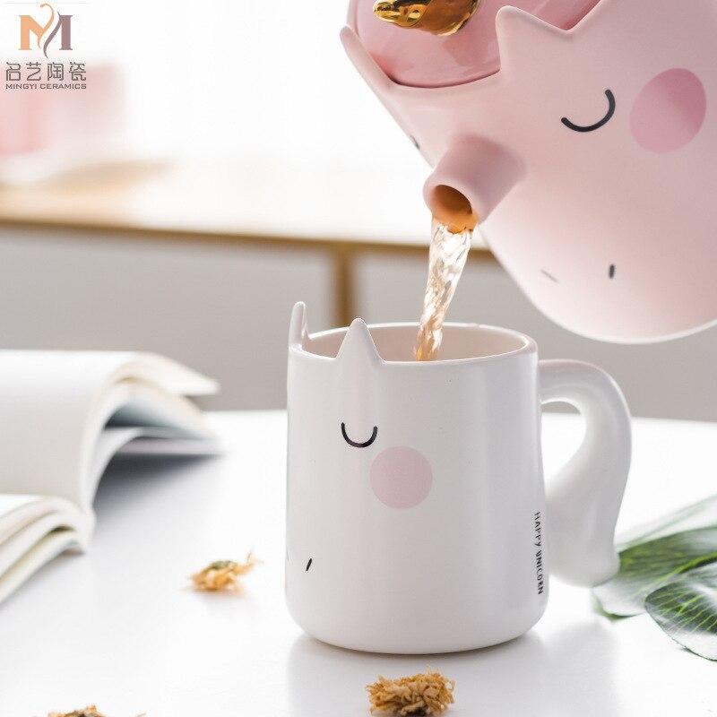 Encantador Dos Desenhos Animados do Unicórnio Conjunto Terno 3d Tridimensional Animais Xícara de Café xícara de Cerâmica Xícara de Água Prático Presente de Negócios - 4
