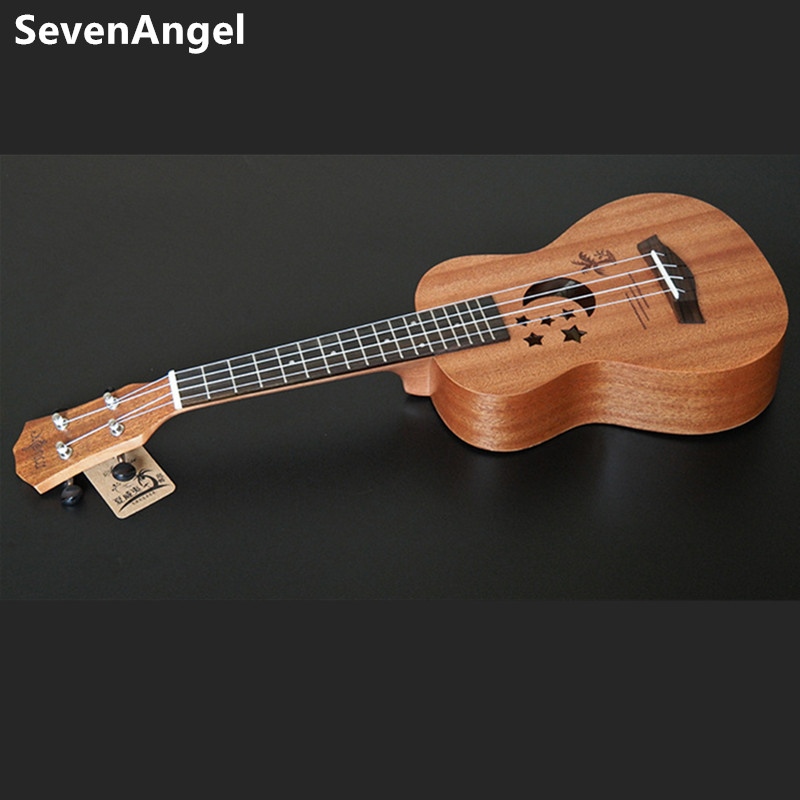 Acoustic Electric Ukulele Guitar 23 Inch  4 Strings Hawaiian Mini Guitar Ukelele sapele Body Star Moon partten  with Pickup EQ waterproof ukulele bag case backpack ukelele guitar accessories blue 23 24 inch 66 26cm
