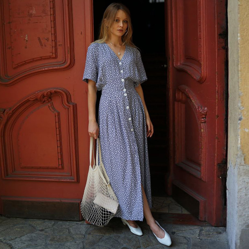 42db3a9a264e Korean Casual Beach Clothing Hippie Dresses For Women 2019 Short Sleeve  Boho Chic Long Dress Plus