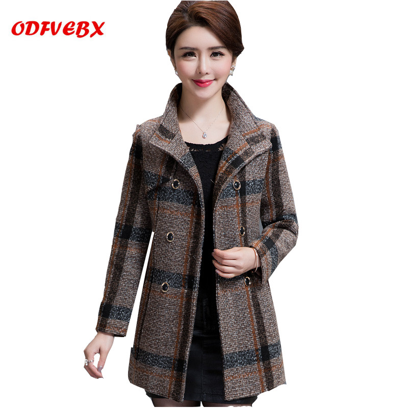 Middle aged old women's woolen coat jacket spring autumn medium long fashion casual tops women high end spring new coat clothes