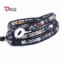 Чакра браслет ювелирные изделия ручной работы кожаный обертывание разноцветный браслет бусины натуральный камень браслет для мужчин женщин дружба подарки