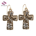 Bohemia Cross Earring For Women Plating Ancient Gold Earring Party Vintage Jewelry Christmas Gift