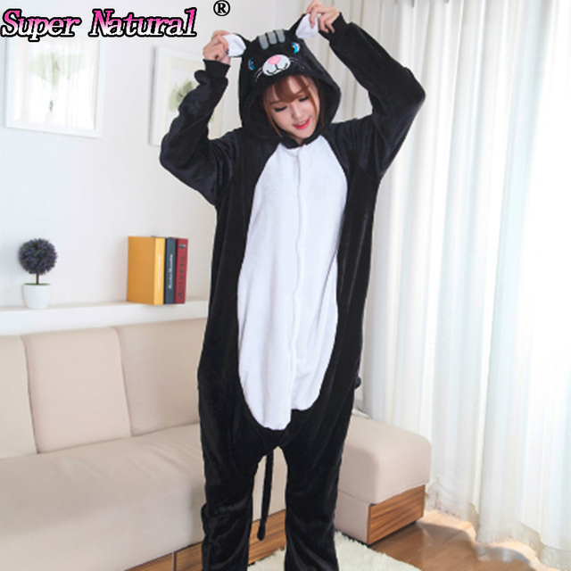 433b7c1115c5 Women Men Winter High Quality Flannel Adult Animal Black Cat Pajamas ...