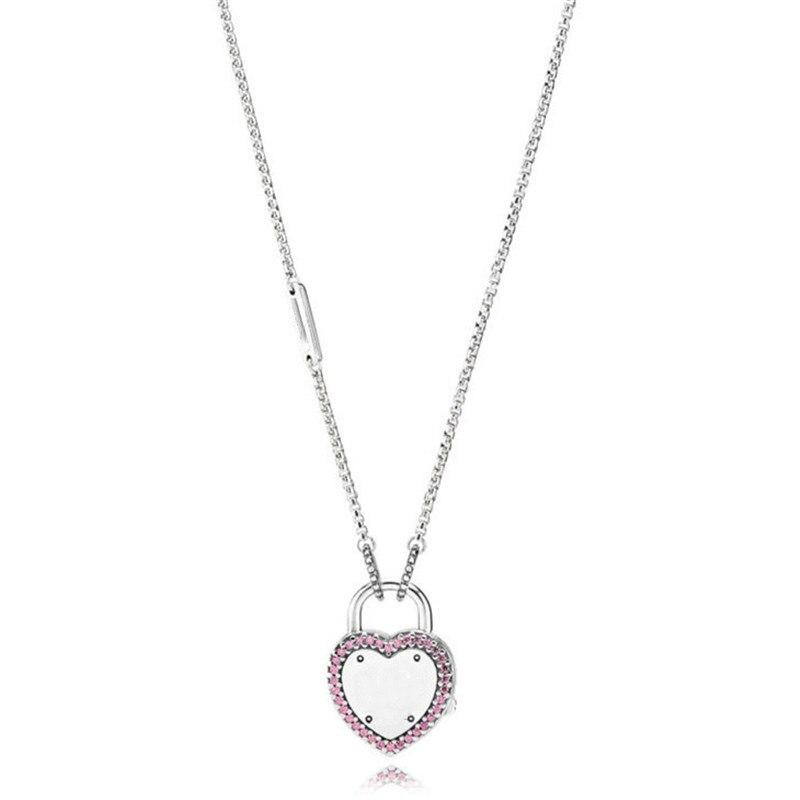 Tendance authentique 925 Sterling chandail chaîne serrure coeur collier Fit Original marque collier femmes bijoux à bricoler soi-même cadeau d'anniversaire