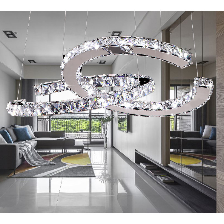 Double C Circle Led Pendant Light crystal ceiling Hanging lamp Suspension Lamp modern simple Crystal Lighting FixtureDouble C Circle Led Pendant Light crystal ceiling Hanging lamp Suspension Lamp modern simple Crystal Lighting Fixture