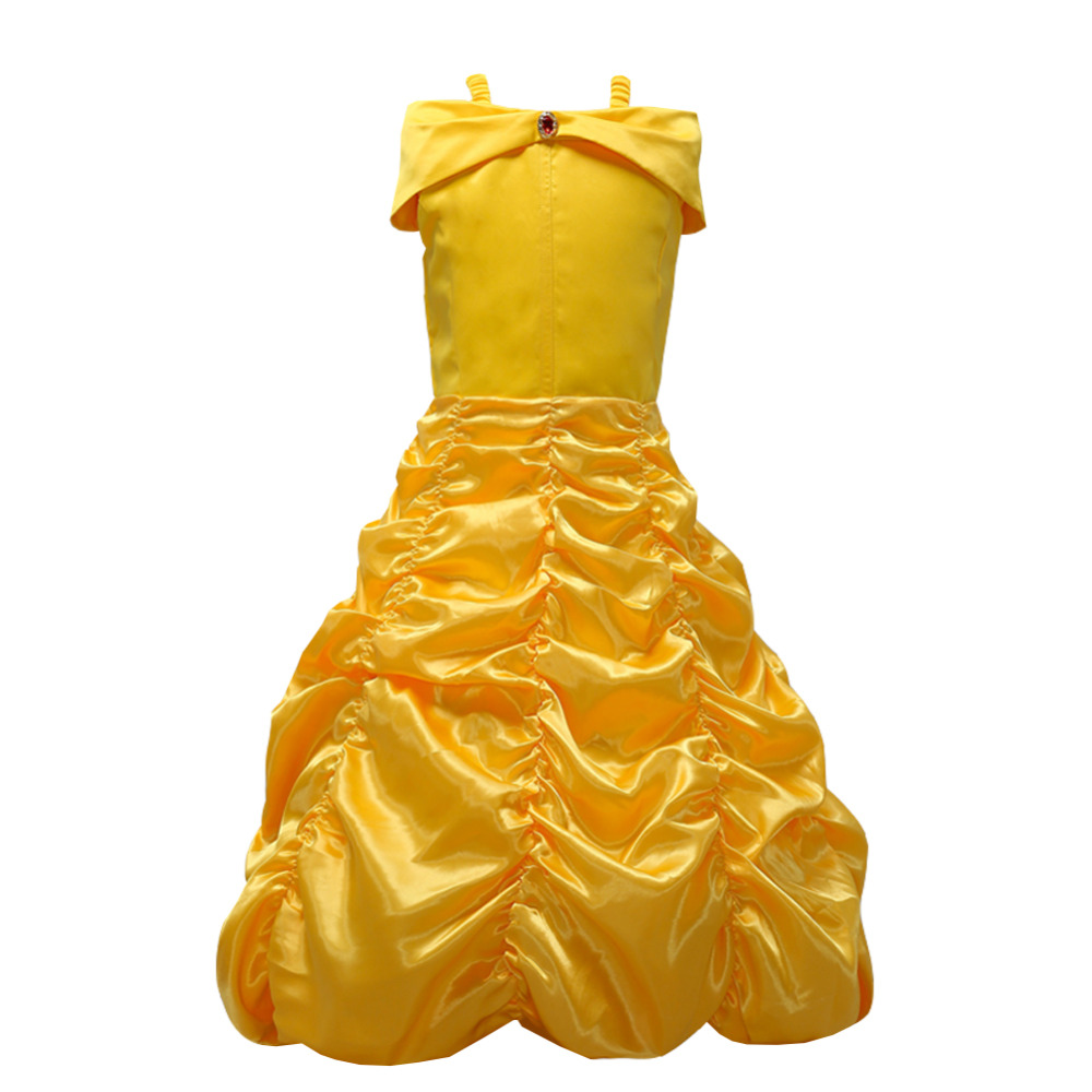 Girls Princess Dress Belle Kids cosplay costume girl Yellow wedding dress for Party