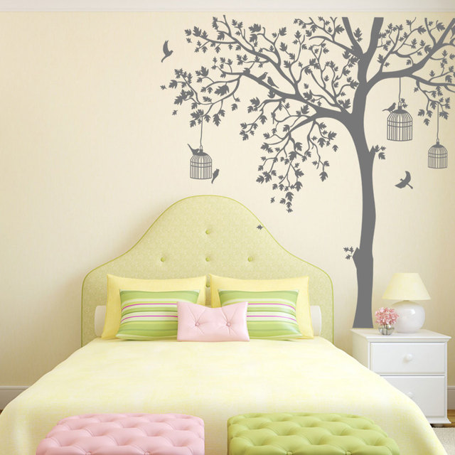 Bird Cage Tree Nursery Wall Stickers Removable Vinyl Decal Kids Baby Rtoom Decor