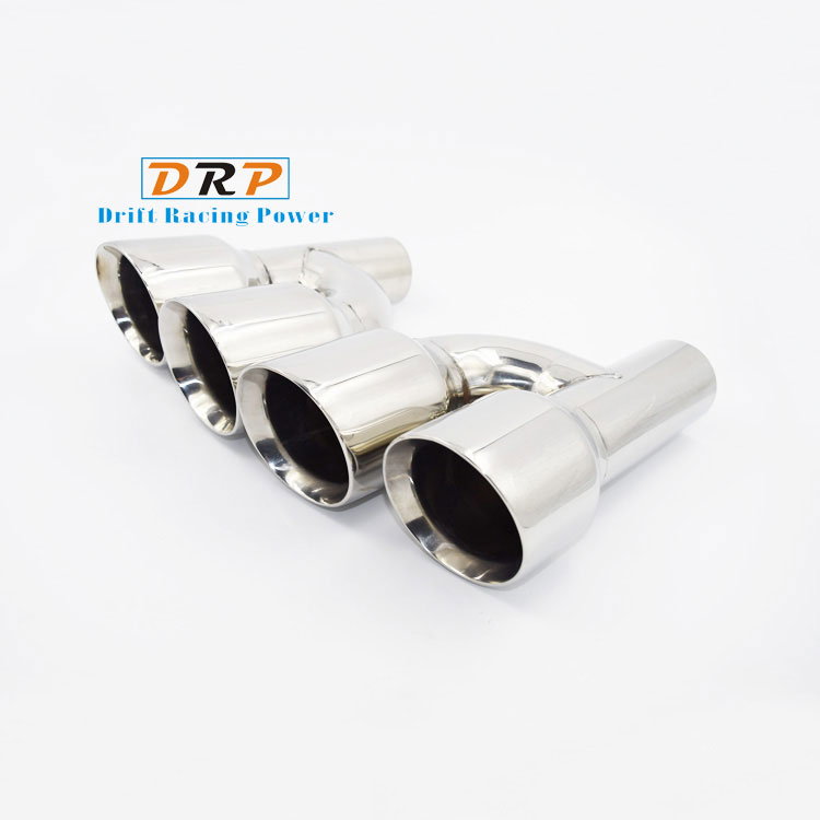 Hot! 2pcs/set 1 to 2 Car Rear Exhaust Tail Muffler Tip Stainless Steel Pipe with Weld edge and white mouth For Audi modified S stylish stainless steel car exhaust pipe muffler tip