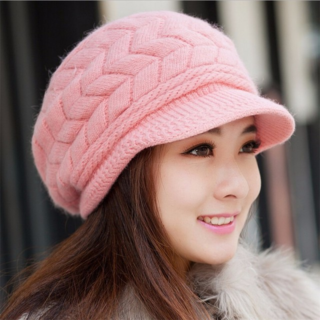 BONJEAN 8 Colors Peaked Cap Women Knitted Hat Autumn Winter Beanies Caps  Knitted Hats Lady s Headwear Accessory 2e6b287e4c
