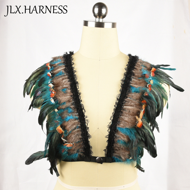 Colorful Feather Bodysuit Harajuku Feather Harness Women's Sexy Bondage Lingerie Crop Top Open Chest Cage Bra O0302