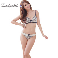 LadychilBra Brief Sets Women Lace Chiffon Embroidery China Flora Bra Set Paded Push Up Conjunto Lingerie