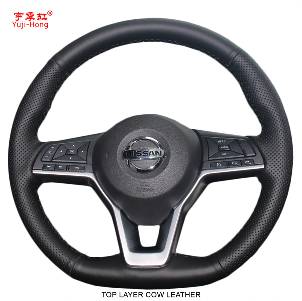 Yuji Hong Top Layer Cow Leather Car Steering Wheel Covers Case for Nissan X Trail Qashqai 2017 Auto Cover Black