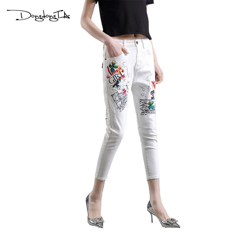 Femenino Dongdongta Cintura White De Patrón Original 2017 pantalones Vaqueros Nuevo Moda Niñas Algodón Lavado Cross Diseño Mediados Pintado Verano Mujeres qqTnAR