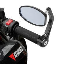 """1 çift 7/8 """"22mm Evrensel Motosiklet Alüminyum Arka Görünüm siyah saplı fırça Bar End Yan Dikiz Aynaları"""