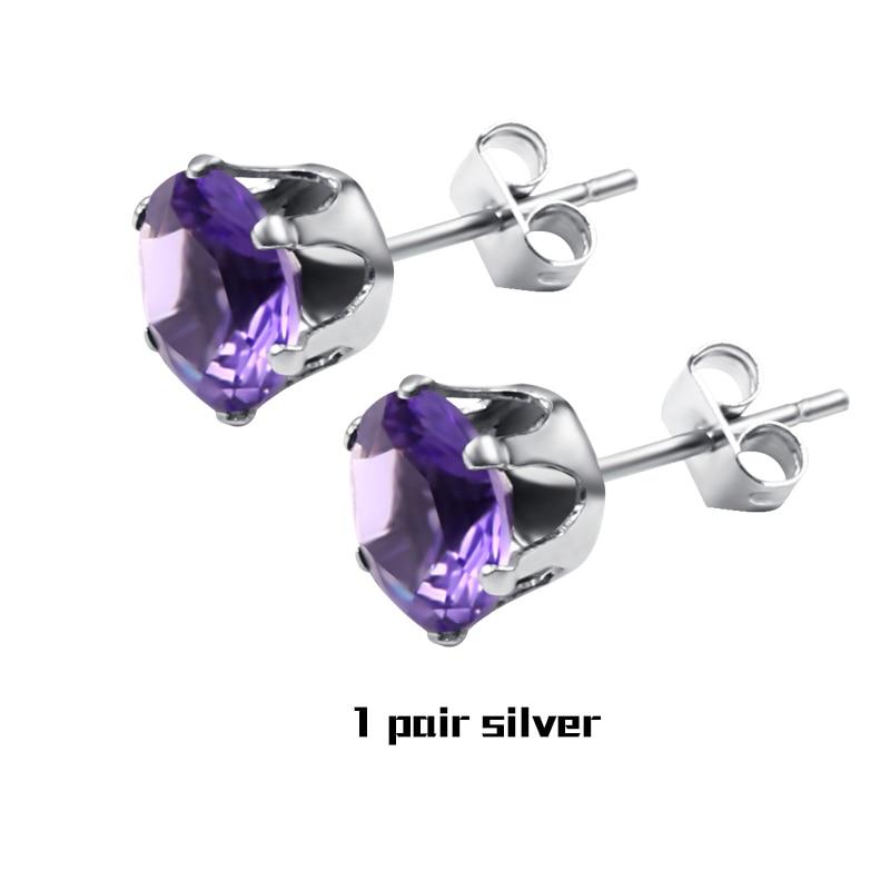 1Pair Purple Silver