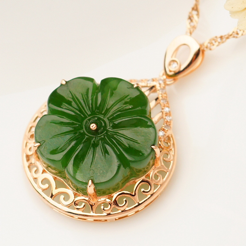 2020 Time-limited New Sale 10g 18k Inlaid Jade Pendant With Certificate Of Manufacturer Of Natural Hetian Female Plum Flower