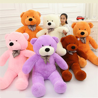 100CM One Piece Soft PP Cotton Stuffed Bear Toy With Tie Giant Teddy Bears Plush Toys Girlfriends Christmas Presents 5 Colors