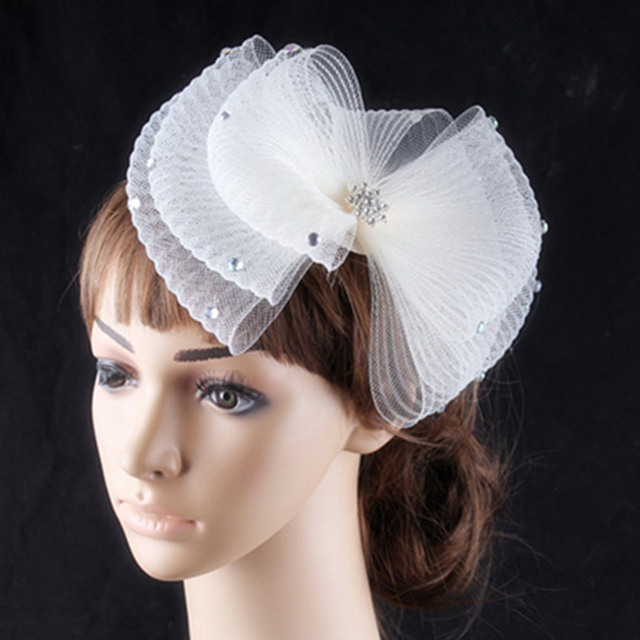Black And Ivory Color Fascinator Hair Combs Crinoline With Rhinetone Brooch Adornd Wedding Hats Bridal Headwear