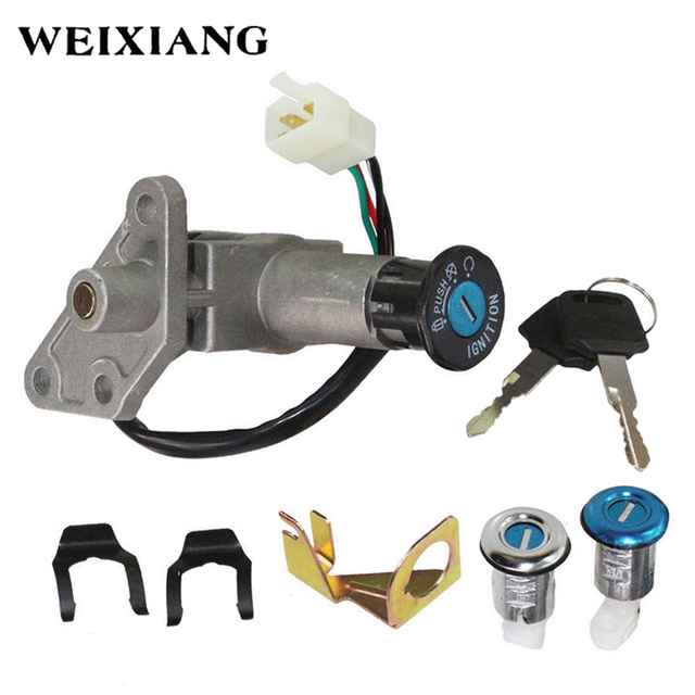 US $24 77 29% OFF|Motorcycle Ignition Switch Key Set Kit For GY6 125cc  150cc Moped Scooter 4 Pin Plug Chinese Scooter Parts-in Locks & Latches  from
