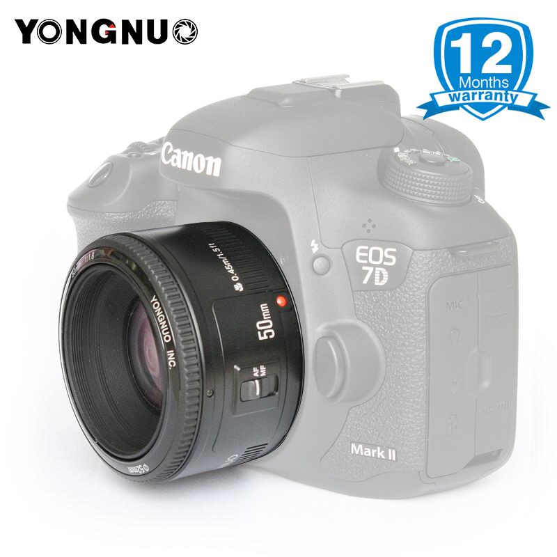 YONGNUO YN50mm F1.8 Objectif à Grande Ouverture pour Canon Appareil Photo REFLEX NUMÉRIQUE, mise Au Point automatique AF/MF 50mm Lentes pour Canon EOS 600D 70D 800D 1200D