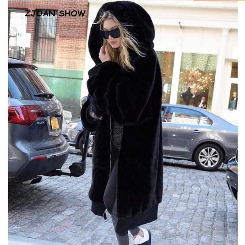 Oversized Winter Warm hooded Large size Long Solid color Faux Fur Coat 2018 New Casual Long