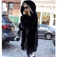 Теплое зимнее пальто с капюшоном большого размера, длинное однотонное пальто из искусственного меха, новинка, повседневная женская меховая куртка с длинным рукавом, верхняя одежда