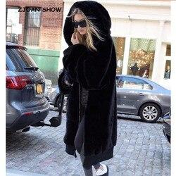 Теплое зимнее пальто с капюшоном большого размера, длинное однотонное пальто из искусственного меха, новинка 2018, повседневная женская мехо...