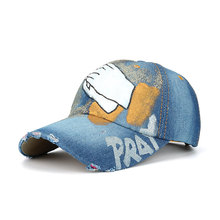 купить Dome Baseball Fashion Casual Embroidered Hat Unisex Baseball Cap Summer Denim Hand-Painted Clap Couple Popular Sun Hat Outdoor дешево