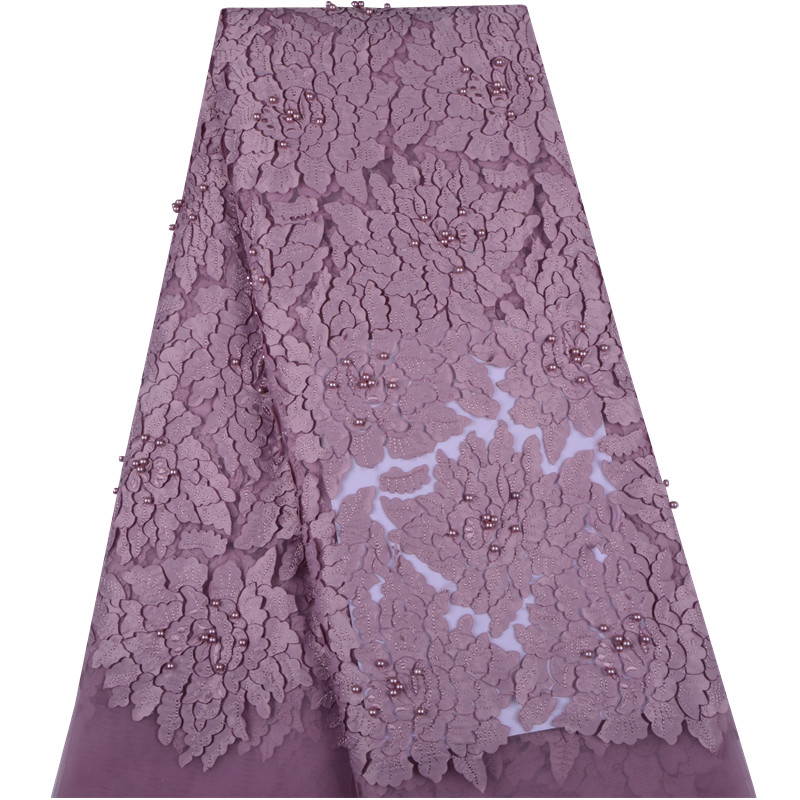 Onion Nigerian French Lace Fabric African Tulle Lace Fabric With Beaded High Quality African Lace Wedding Fabric For Dress F1316