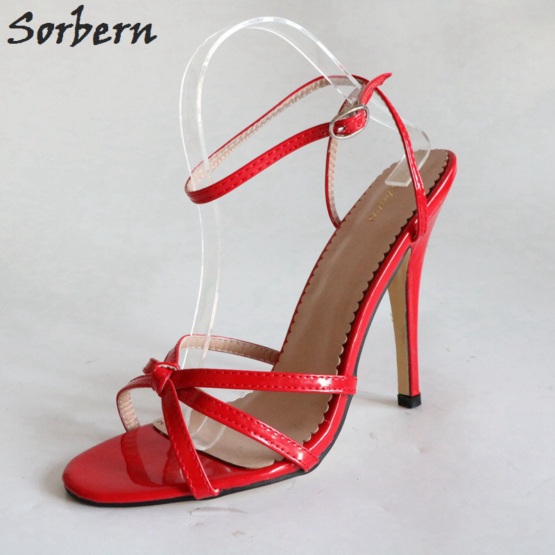 Sorbern Sexy Thin Cross Tied Strappy Pu Sandal Women Runway Shoes Women 2018 Women Sandals Size 44 Sandals In Size 12 Diy Color rockstud toe post strappy pu sandals