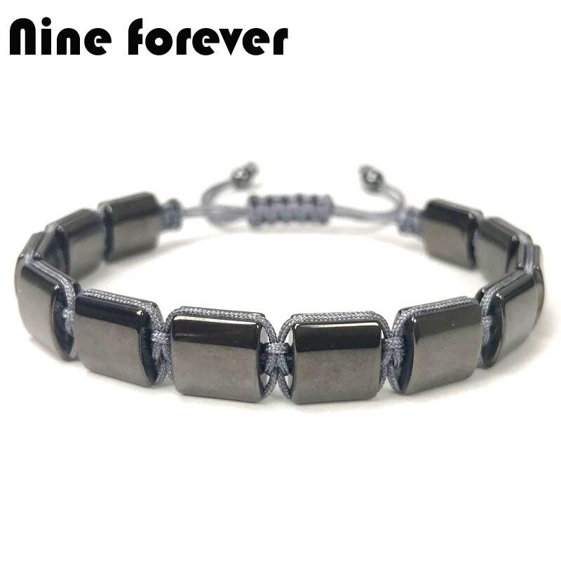 Nine forever Hematite Bracelet Men jewelry natural stone Braiding Macrame Bracelets & bangles pulseira masculina bileklik
