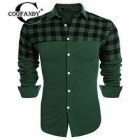 COOFANDY Jesień Koszula dla Mężczyzn Nowości Hot Sprzedaż Moda Męska Z Długim Rękawem Plaid Patchwork Przycisk W Dół Koszule