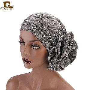 Image 2 - New fashion Women Muslim beaded glitter Turban India Cap Big Flower Headband Wedding Party Hair Lose Head Wraps Accessories
