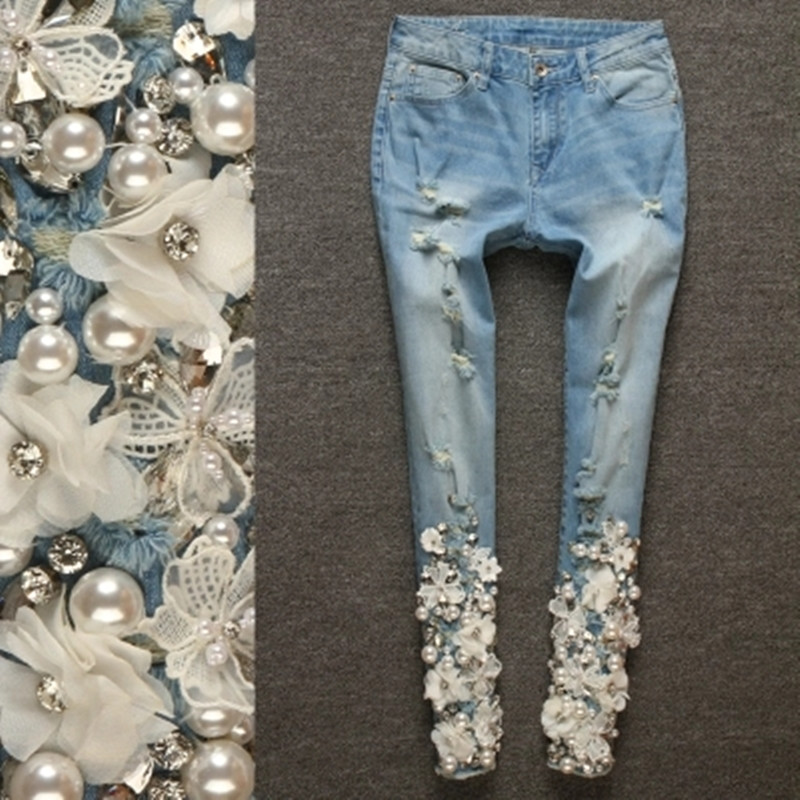 Women Jeans Pants Skinny Fashion Casual Female Ripped Jeans Denim Lace Pencil Pants Elastic With Luxury Beading Diamond Jeans