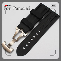 Top Quality Waterproof Rubber Silicone Strap 22mm 24mm black Men's Watchbands For Pam111 With original Logo Butterfly Buckle