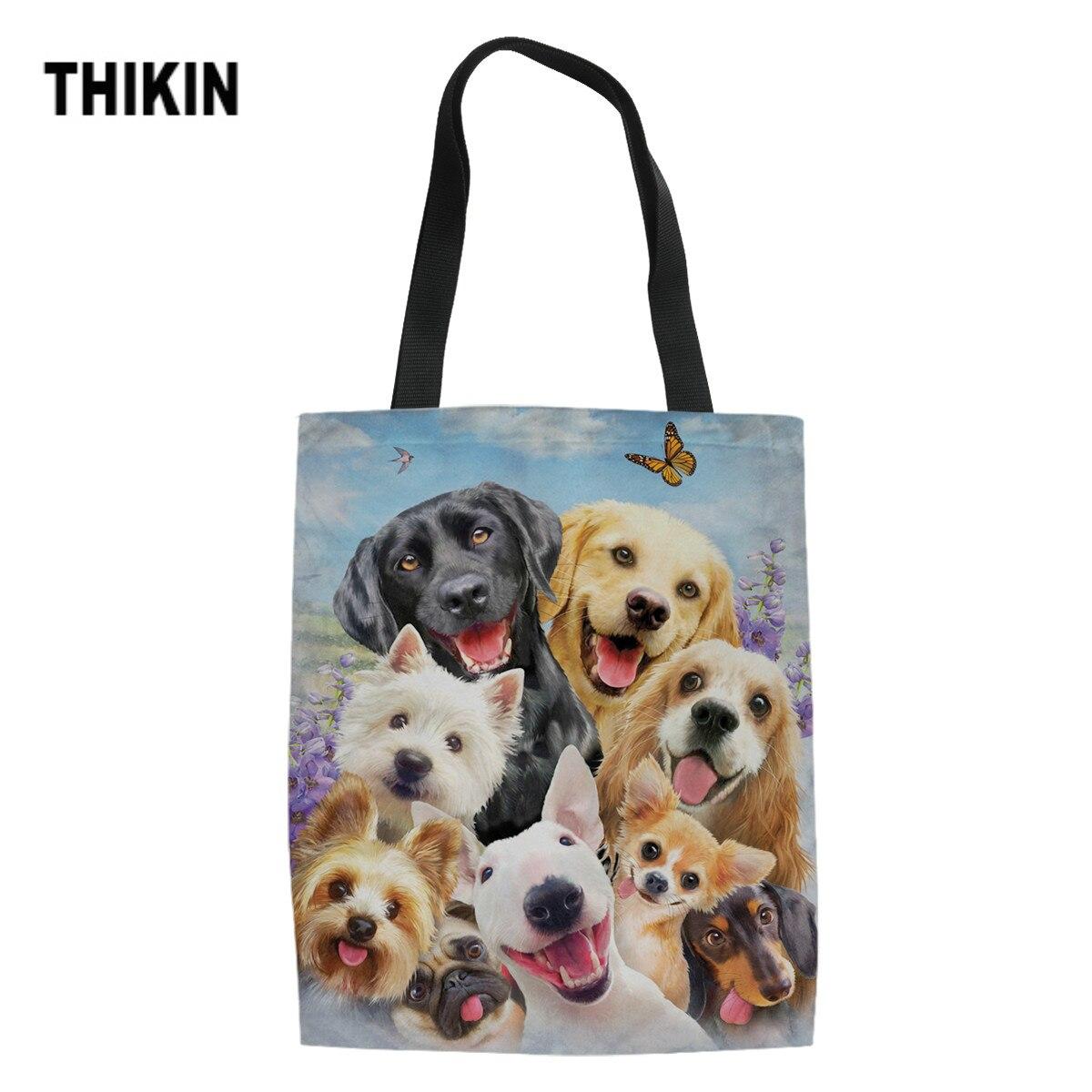 THIKIN Cute Pug Golden Retriever Labrador Cartoon Dogs Print Shopping Bags For Girls Women Tote Bag Ladies Canvas Handbag Custom