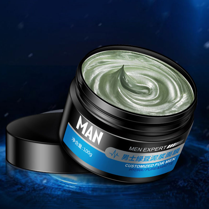 Men Mung Bean Mud Facial Mask Plant Moisturizing Face Mask Oil Control Whitening Deep Cleaning Mask Skin Care