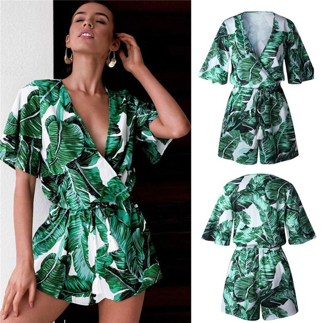 4953b521e37d 2018 Boho Style Summer Rompers Leaf Printing V Neck Jumpsuit Plus Size Tie  Waist Casual Summer Sexy Women Green Beach Jumpsuits
