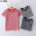 V-TREE Boys Girls Short Sleeve T Shirts Summer Baby Boy Girl Cotton TShirts Children Striped T-Shirts Toddler Casual Clothes