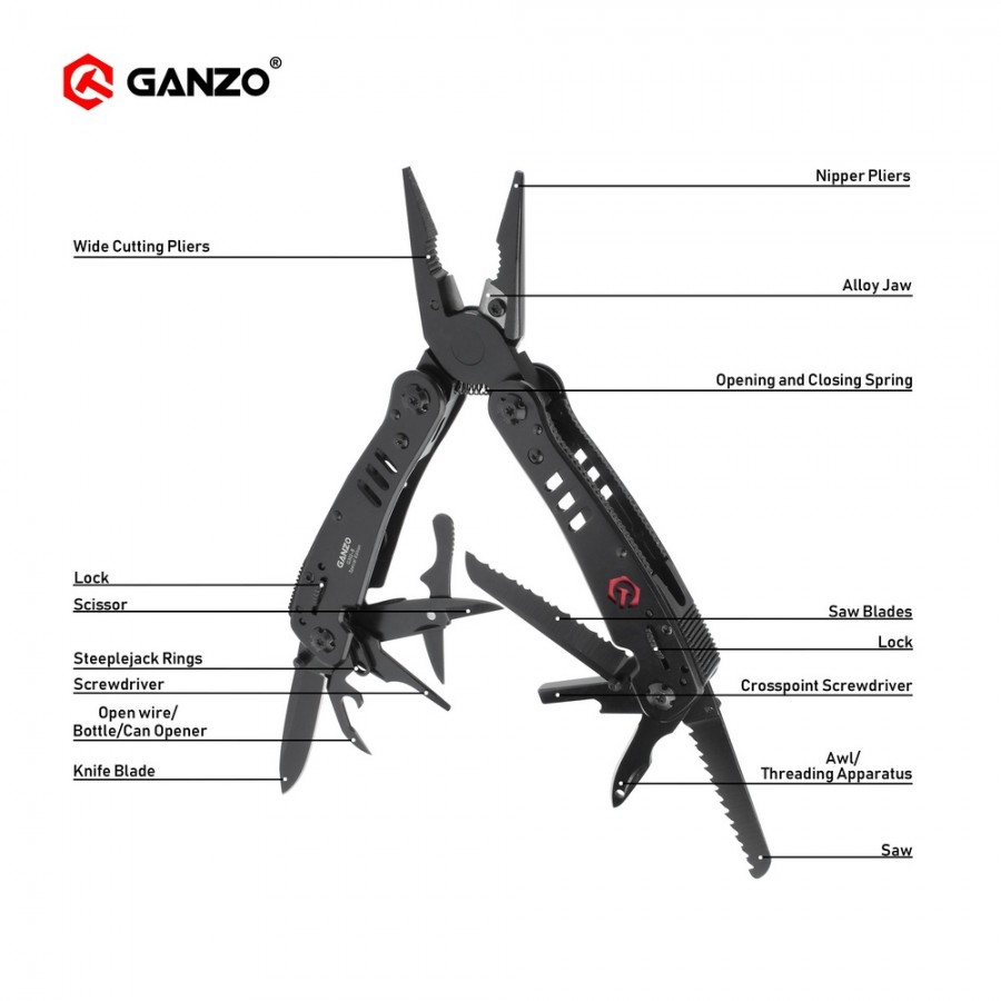 Ganzo G302 G302B G302-B Multi pliers 26 Tools in One Hand Tool Set Screwdriver Kit Portable Folding Knife Stainless pliers