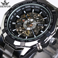 2016 SEWOR Luxury Brand Business Men Sport Automatic Skeleton Mechanical Military Watch Men full Steel Stainless Band reloj