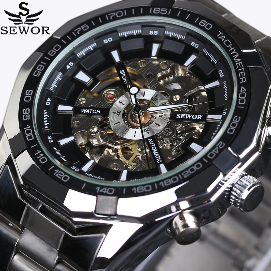2017 SEWOR Luxury Brand Skeleton Sport Men Watches Automatic Mechanical Military Watch Men Stainless Steel Strap reloj sewor new arrival luxury brand men watches men s casual automatic mechanical watches diamonds hour stainless steel sports watch