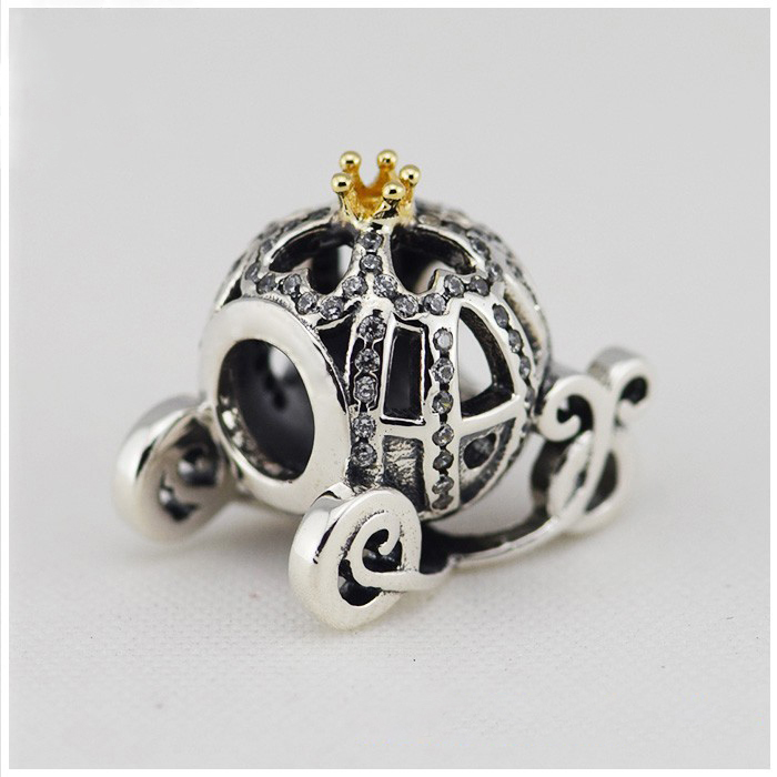 цена 2015 NEW Spring 925 Sterling Silver Pumpkin Charm with Gold and CZ bead Fits pandora Bracelets in stock 1pc/lot B520
