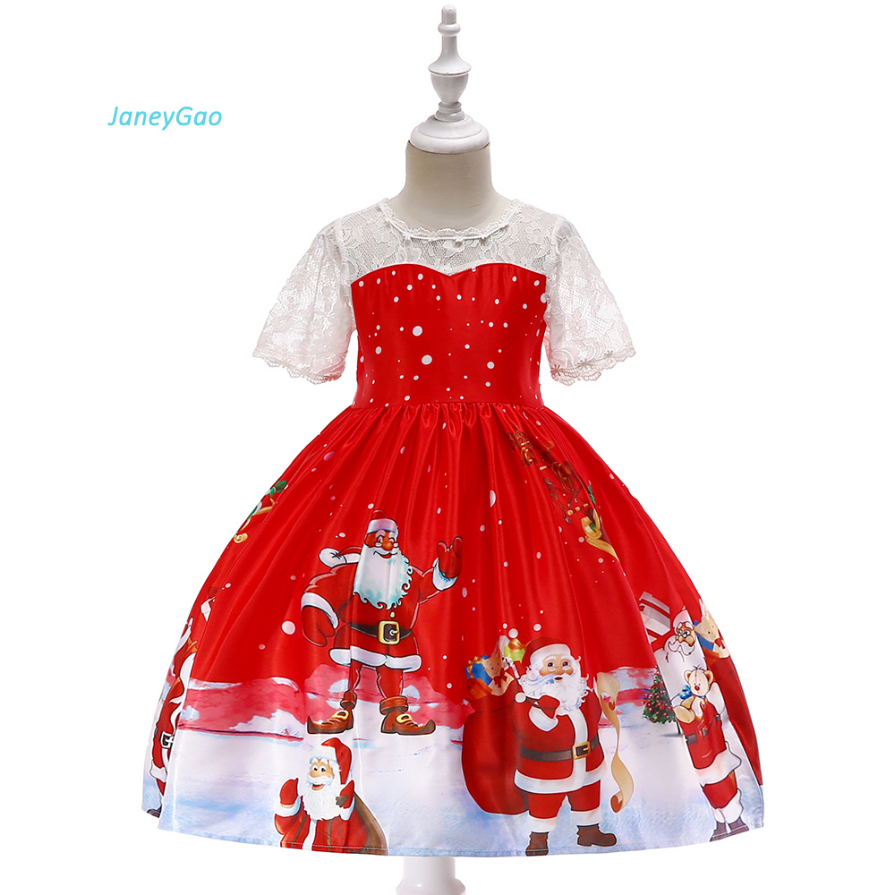 JaneyGao   Flower     Girl     Dresses   For Chirstmas Party Elegant Little   Girl   Formal Gown With Short Sleeves Christmas Pattern In Stock
