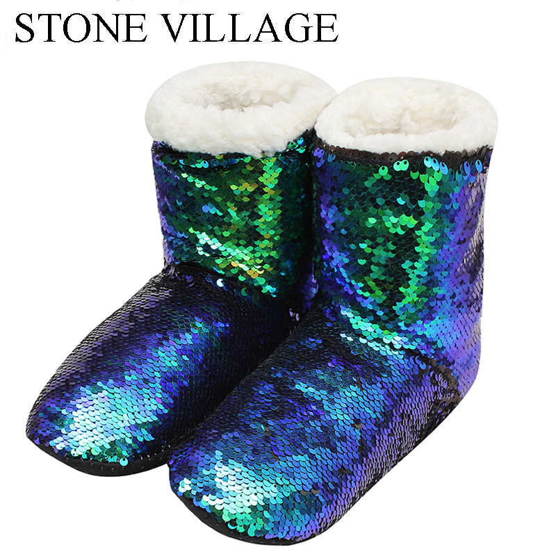 STONE VILLAGE Sequined Cloth Warm Plush Home Slippers Cute Bling Christmas Slippers Shoes Lovers Men And Women Slippers Shoes brand women bow backpacks pu leather backpack travel casual bags high quality girls school bag for teenagers