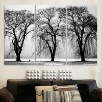 3 stks/set Hot Selling Nieuwe Collectie Gratis verzending Moderne Thuis Muur Decoratieve Zwarte Bomen Canvas Art HD Print Schilderij geen frame